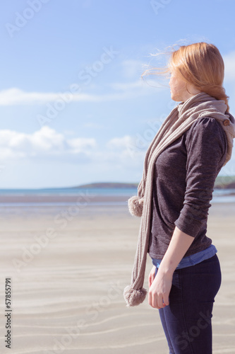 Beautiful woman looking at the sea