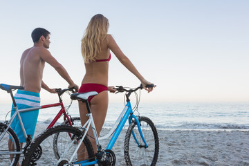 Pensive couple holding their bikes
