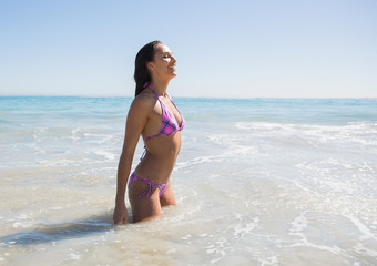 Cheerful sexy young woman bathing in the sea