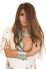 Native American white top close elbow