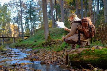 Traveler exploring the map