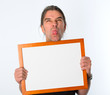boldfaced man with white signboard
