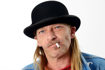 smoker with bowler hat