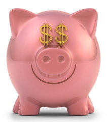 Piggy bank. Clipping path included.