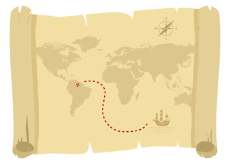 ancient pirate map for golden treasure