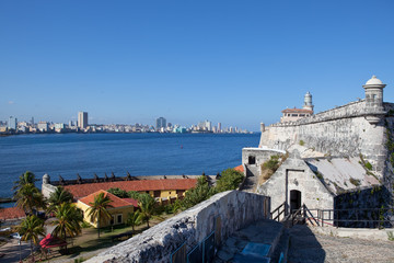 Havana.View of the city through a bay from Morro's fortress.
