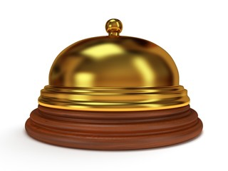 Golden hotel reception bell. 3d render.