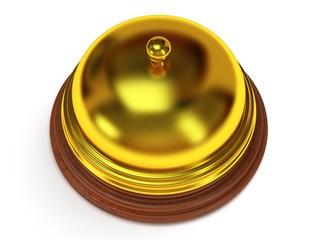 Golden hotel reception bell. 3d render.