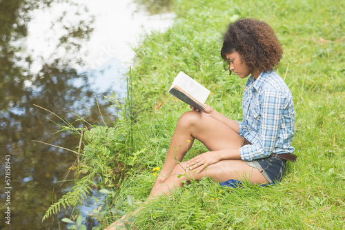 Gorgeous calm brunette sitting by a stream reading book