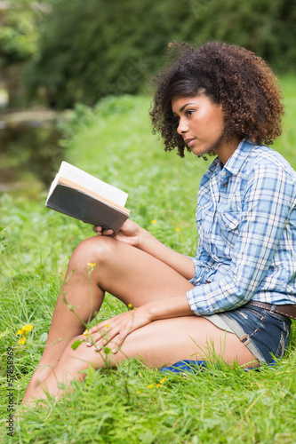 Gorgeous serious brunette sitting reading book