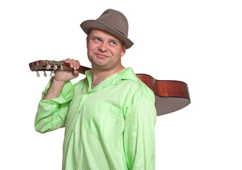 Guitarist holding a guitar on his shoulder