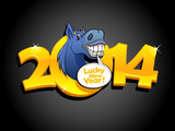 Gold 2014 new year design with blue horse.