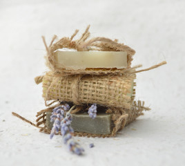 Soap with lavander flowers