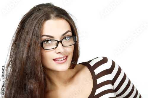 portrait of attractive caucasian smiling woman with glasses, iso