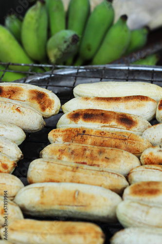Banana grilled on the stove on the market.