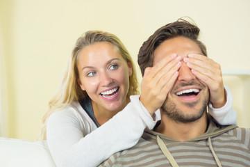 Blonde woman having fun with her boyfriend