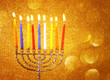 Hanukkah menorah with Burning candles