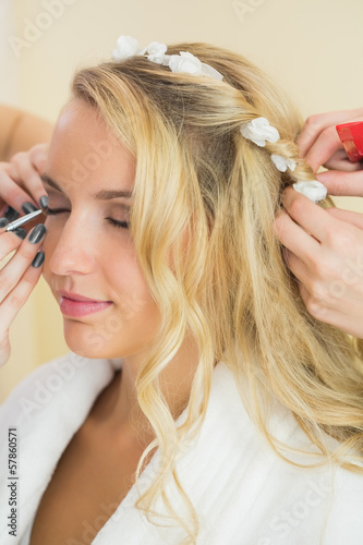 Gorgeous bride having her hair done
