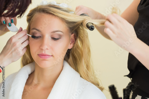 Beautiful woman getting prepared for the wedding