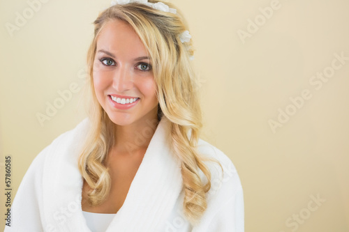 Cheerful gorgeous bride smiling at camera
