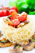 Pasta with cherry tomato and mushrooms