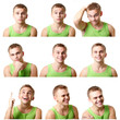 young man emotional faces, expressions set over white