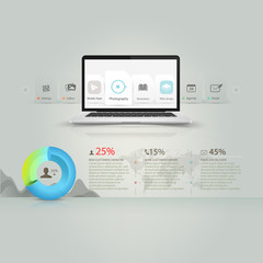 Infographics elements:Computer laptop,circle graph and icons set