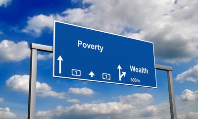 Autobahnschild Armut