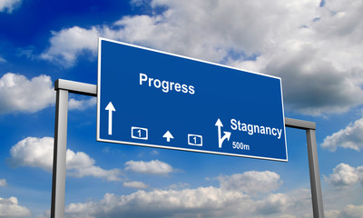 Autobahnschild Fortschritt