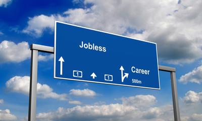 Autobahnschild Arbeitslos