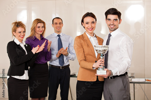 business people celebrating their victory