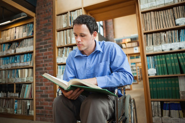Serious man in wheelchair looking at a book