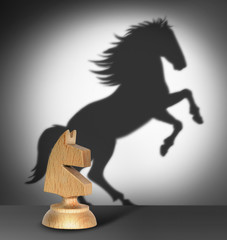 Chess horse with  shadow as a wild horse
