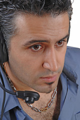 Headshot with headphone.