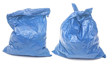 blue garbage bags isolated on a white background