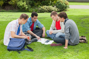 Students studying together outside on campus