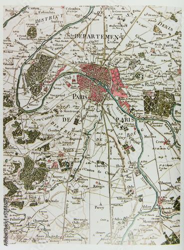 In de dag Retro Historical map of Paris
