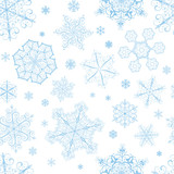 Christmas seamless pattern of cyan snowflakes
