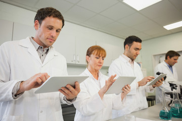 Row of scientists working with their tablets