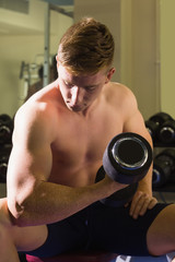 Muscular handsome man sitting on bench posing with dumbbells