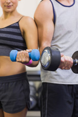 Attractive woman and man lifting dumbbells