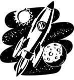 Rocket flying through Outer Space poster