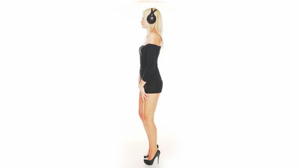 sexy woman dancing in black dress
