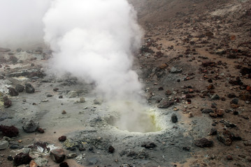 Volcanic vents with smoke, sulfur and ash. Located on Kamchatka