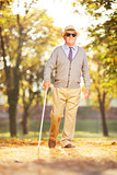 Blind mature person holding a stick and walking in a park