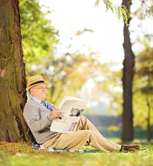 Smiling gentleman seated reading a newspaper in a park at autumn