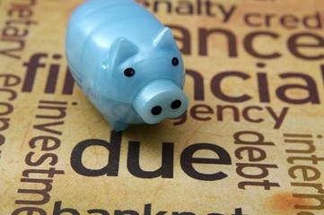 Piggy bank and debt concept