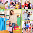 Collage of shoppers in clothing department