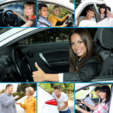 Happy young drivers