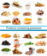 Products containing potassium isolated on white